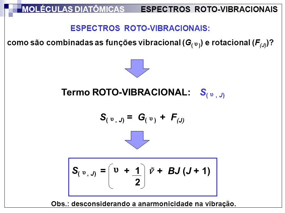 ᶹ ᶹ Termo ROTO-VIBRACIONAL: S( , J) ᶹ S( , J) = G( ) + F(J) ᶹ ᶹ