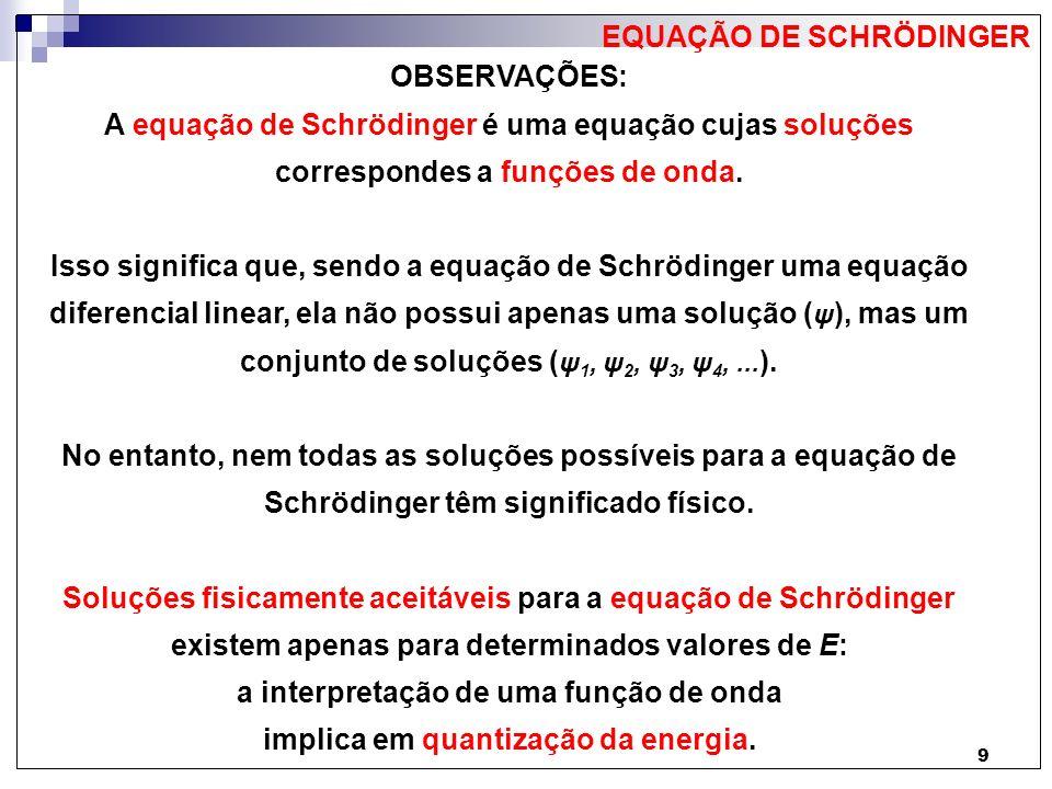 EQUAÇÃO DE SCHRÖDINGER OBSERVAÇÕES: