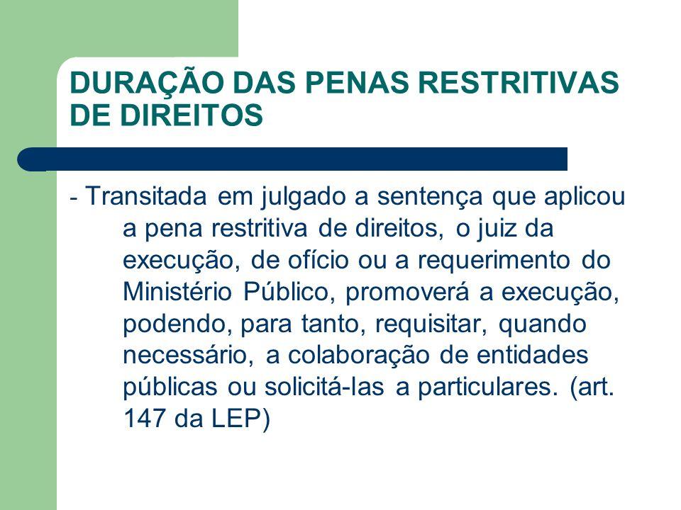 DURAÇÃO DAS PENAS RESTRITIVAS DE DIREITOS