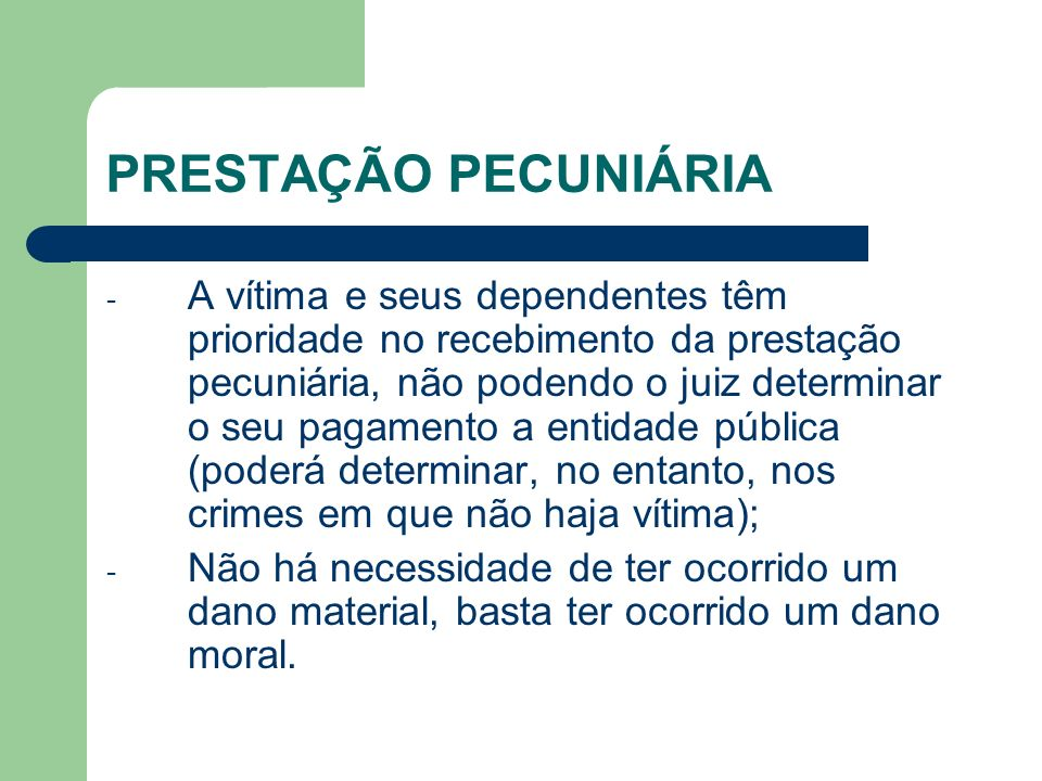 PRESTAÇÃO PECUNIÁRIA