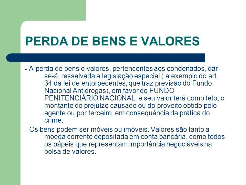 PERDA DE BENS E VALORES
