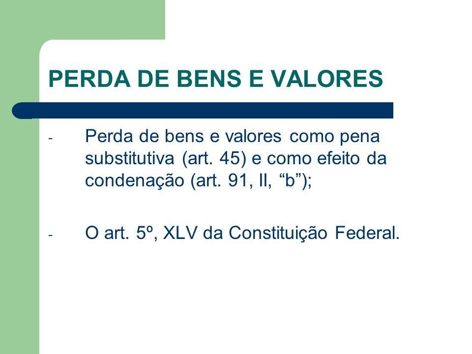 PERDA DE BENS E VALORES Perda de bens e valores como pena substitutiva (art. 45) e como efeito da condenação (art. 91, II, b );