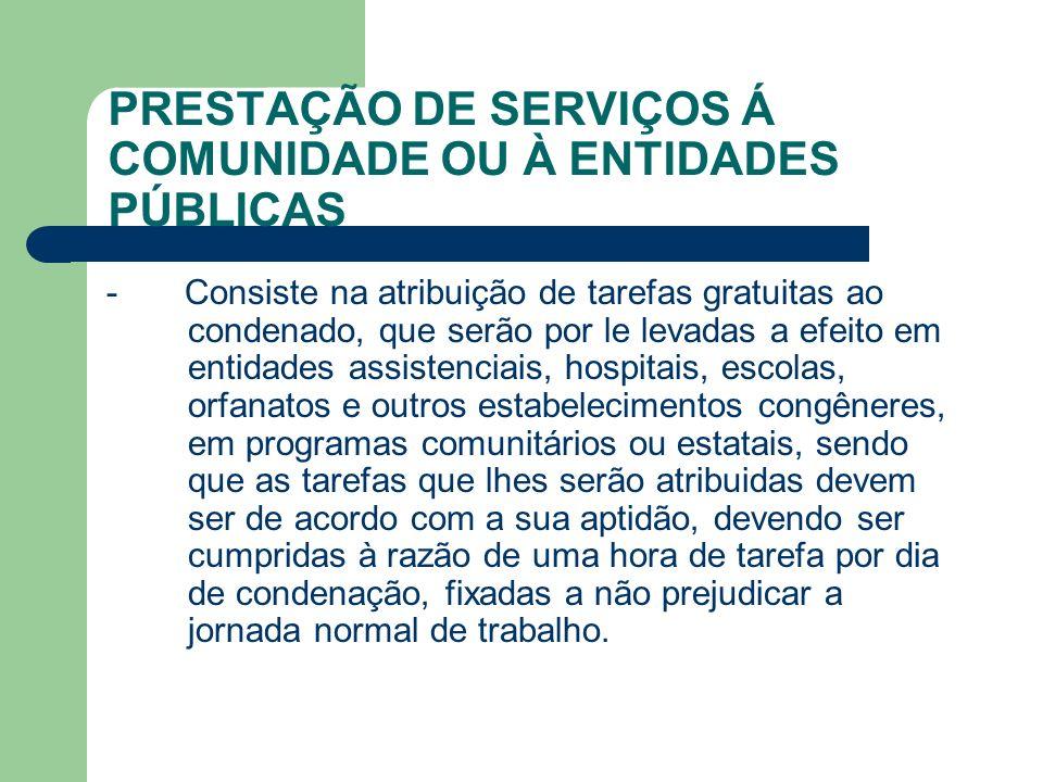 PRESTAÇÃO DE SERVIÇOS Á COMUNIDADE OU À ENTIDADES PÚBLICAS