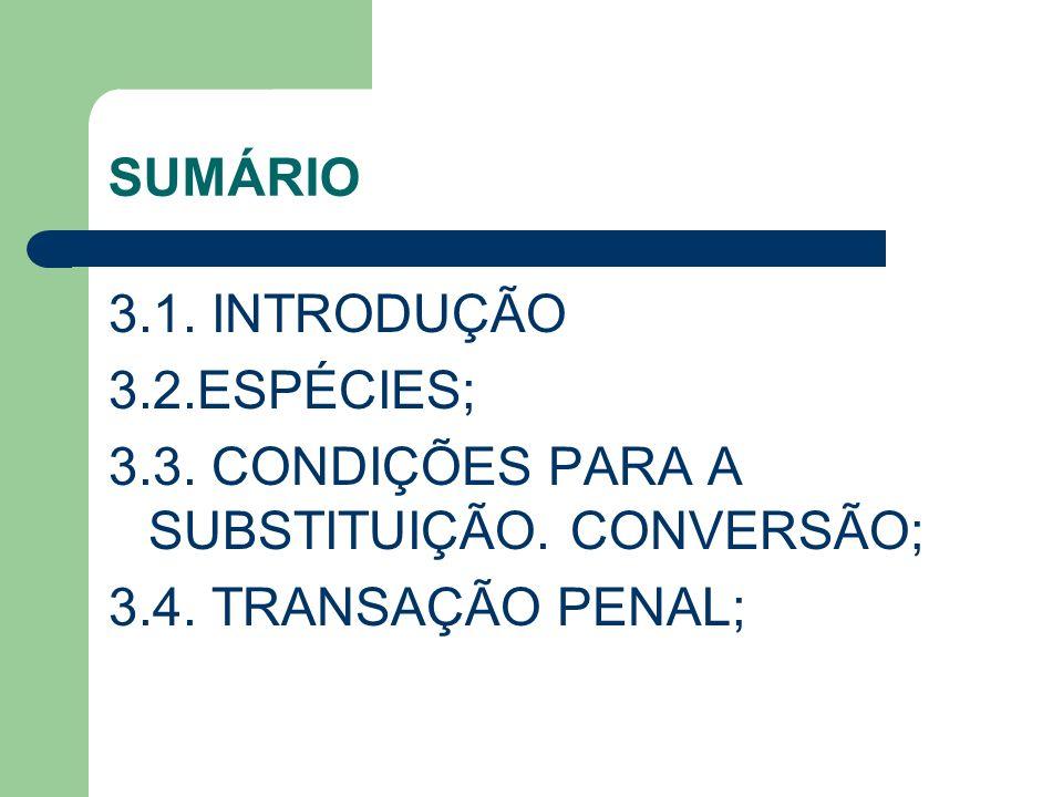 SUMÁRIO 3.1. INTRODUÇÃO. 3.2.ESPÉCIES; 3.3. CONDIÇÕES PARA A SUBSTITUIÇÃO.