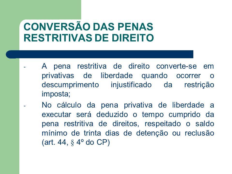 CONVERSÃO DAS PENAS RESTRITIVAS DE DIREITO