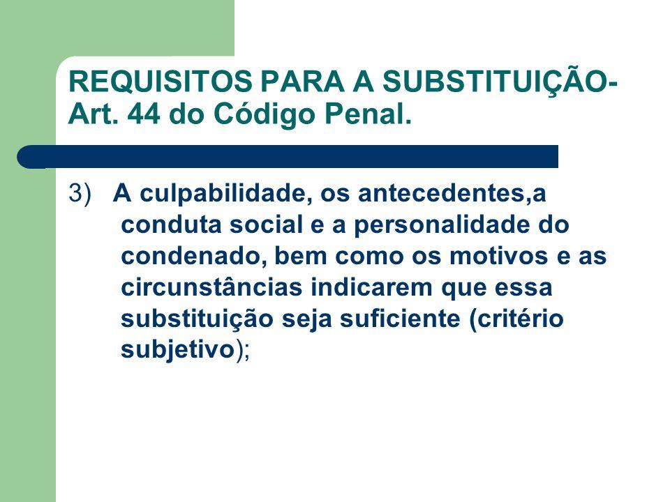 REQUISITOS PARA A SUBSTITUIÇÃO- Art. 44 do Código Penal.