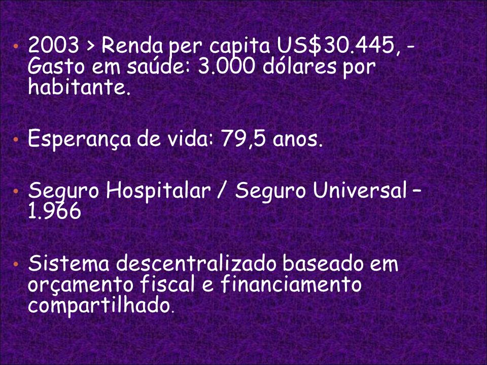 2003 > Renda per capita US$30. 445, - Gasto em saúde: 3