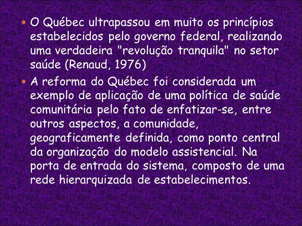 O Québec ultrapassou em muito os princípios estabelecidos pelo governo federal, realizando uma verdadeira revolução tranquila no setor saúde (Renaud, 1976)