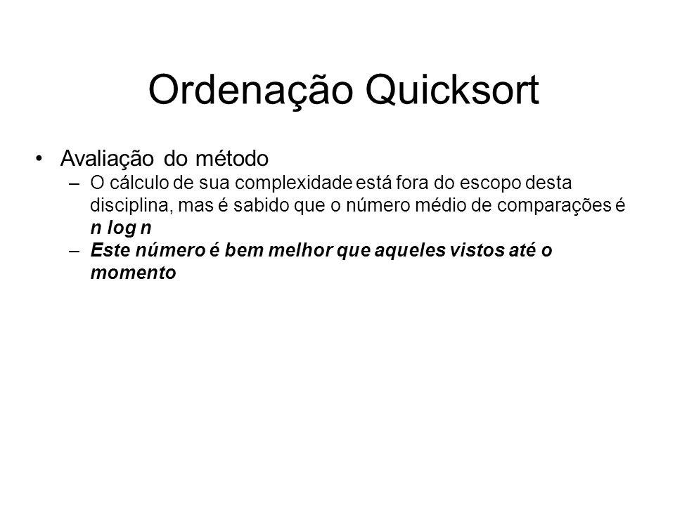 Ordenação Quicksort Avaliação do método