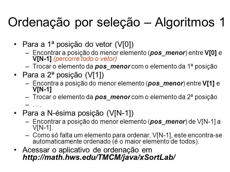 Ordenação por seleção – Algoritmos 1