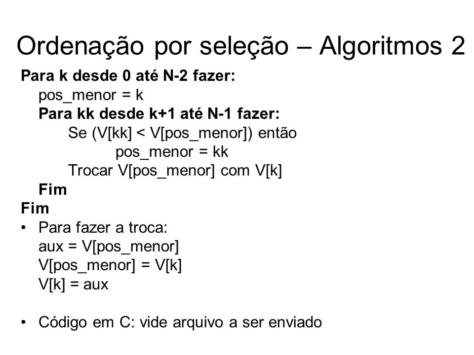 Ordenação por seleção – Algoritmos 2