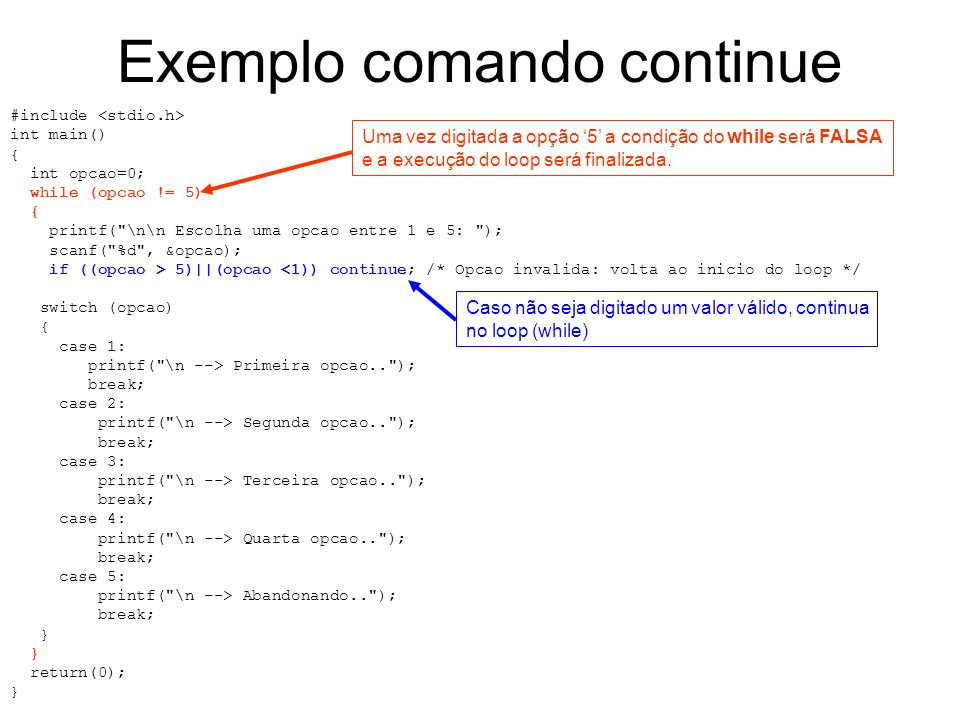Exemplo comando continue