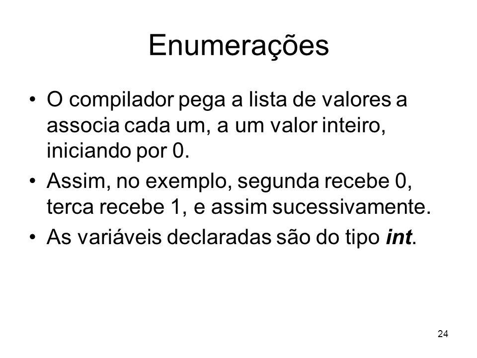 Enumerações O compilador pega a lista de valores a associa cada um, a um valor inteiro, iniciando por 0.