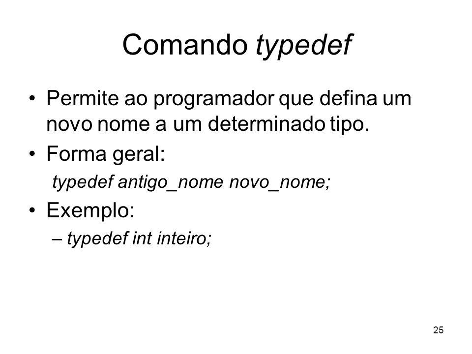 Comando typedefPermite ao programador que defina um novo nome a um determinado tipo. Forma geral: typedef antigo_nome novo_nome;