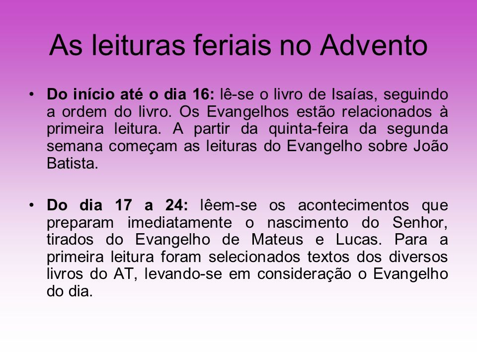 As leituras feriais no Advento