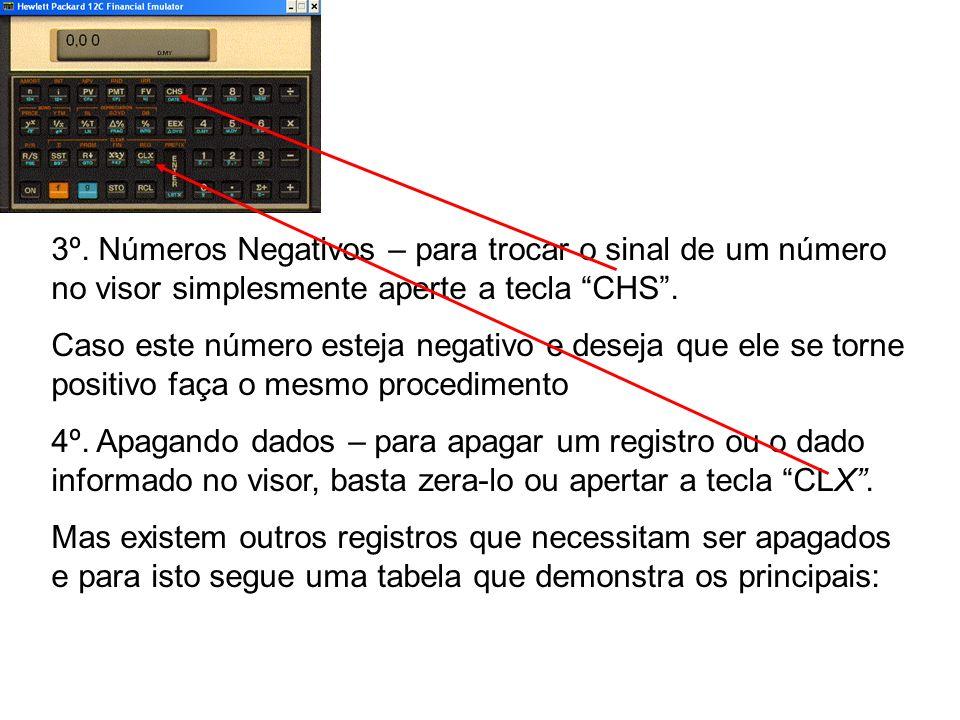 3º. Números Negativos – para trocar o sinal de um número no visor simplesmente aperte a tecla CHS .