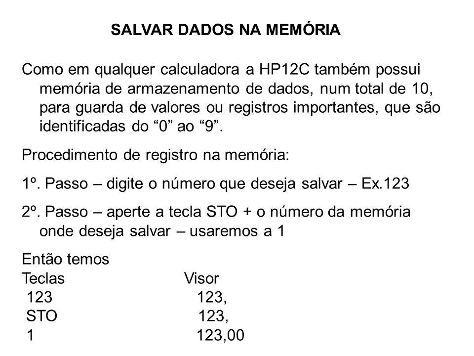 SALVAR DADOS NA MEMÓRIA