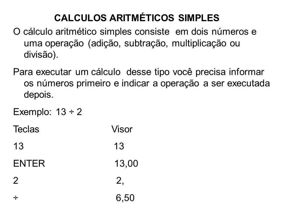 CALCULOS ARITMÉTICOS SIMPLES