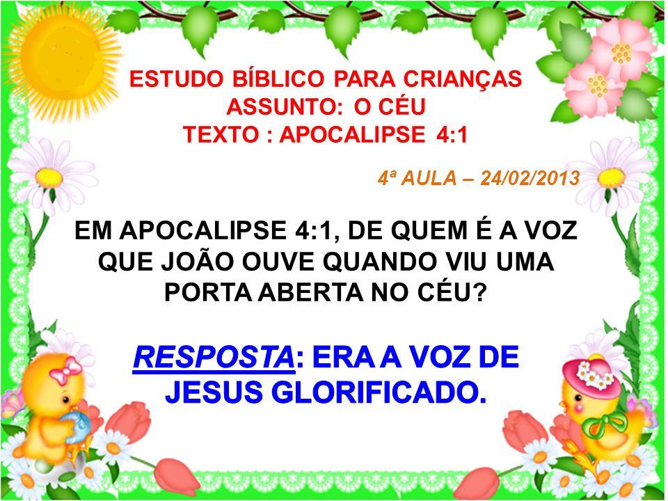 ESTUDO BÍBLICO PARA CRIANÇAS ASSUNTO: O CÉU TEXTO : APOCALIPSE 4:1