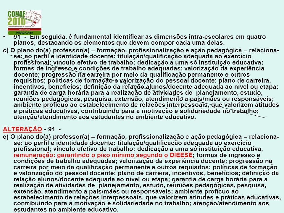 91 - Em seguida, é fundamental identificar as dimensões intra-escolares em quatro planos, destacando os elementos que devem compor cada uma delas.