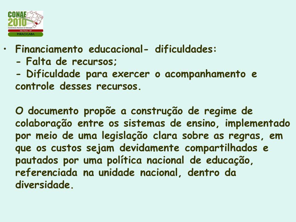 Financiamento educacional- dificuldades: - Falta de recursos; - Dificuldade para exercer o acompanhamento e controle desses recursos.