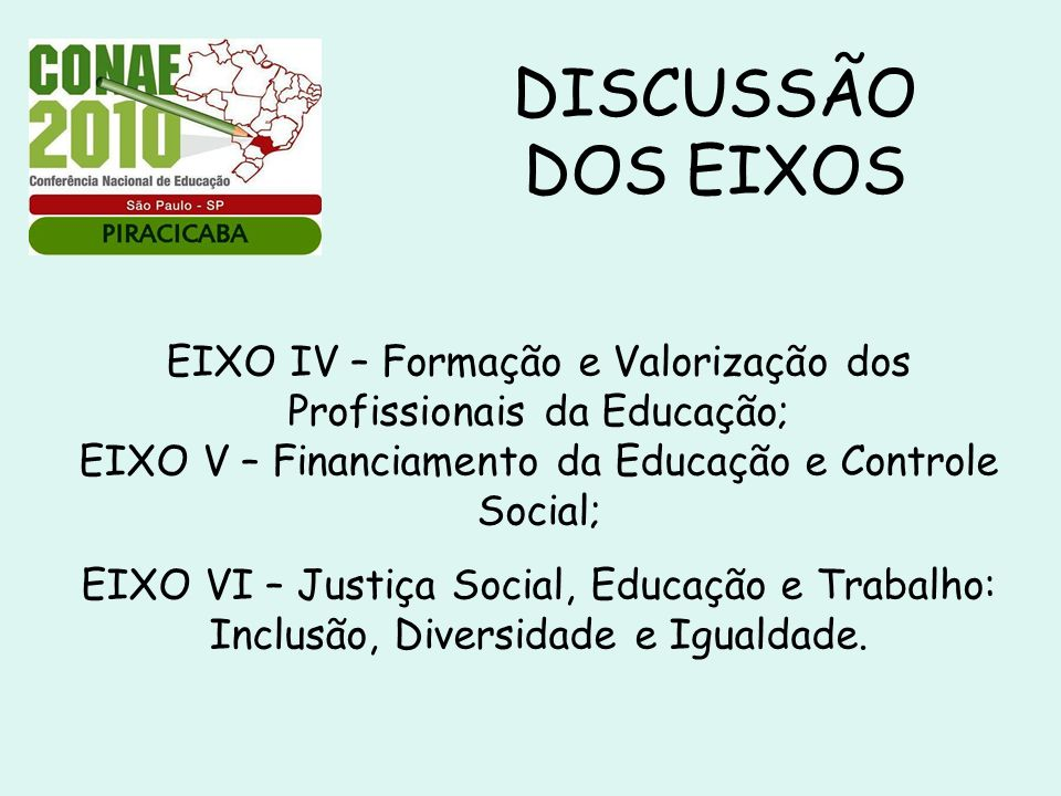 DISCUSSÃO DOS EIXOS EIXO IV – Formação e Valorização dos Profissionais da Educação; EIXO V – Financiamento da Educação e Controle Social;