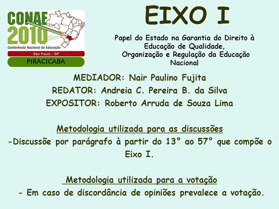 EIXO I Papel do Estado na Garantia do Direito à Educação de Qualidade, Organização e Regulação da Educação Nacional.