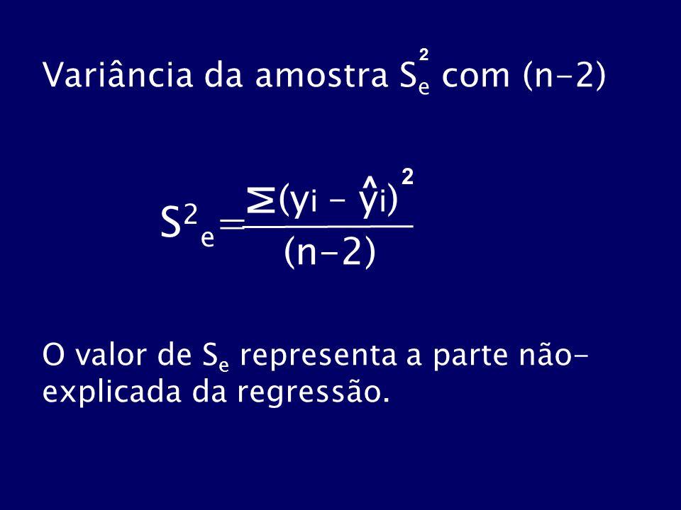 S2e= M (yi – yi) (n-2) Variância da amostra Se com (n-2) ^