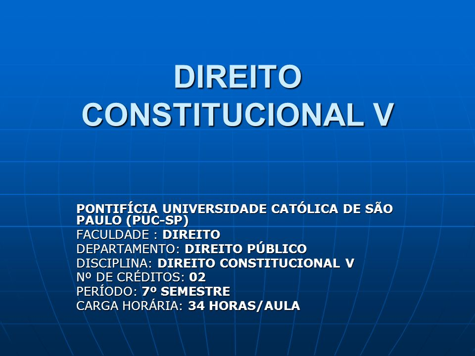 DIREITO CONSTITUCIONAL V