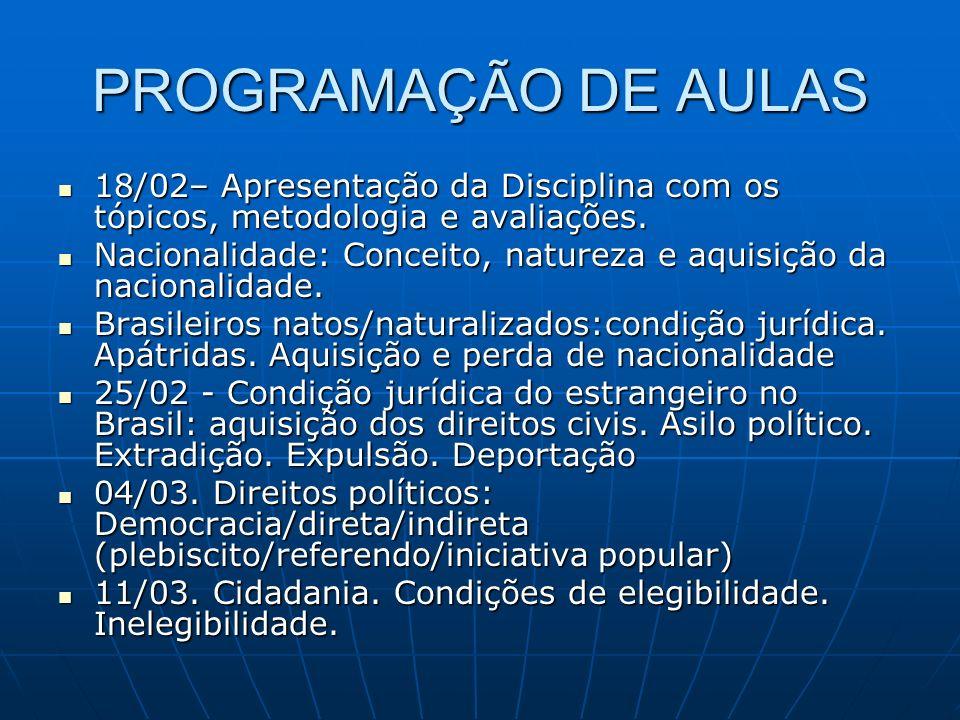 PROGRAMAÇÃO DE AULAS 18/02– Apresentação da Disciplina com os tópicos, metodologia e avaliações.