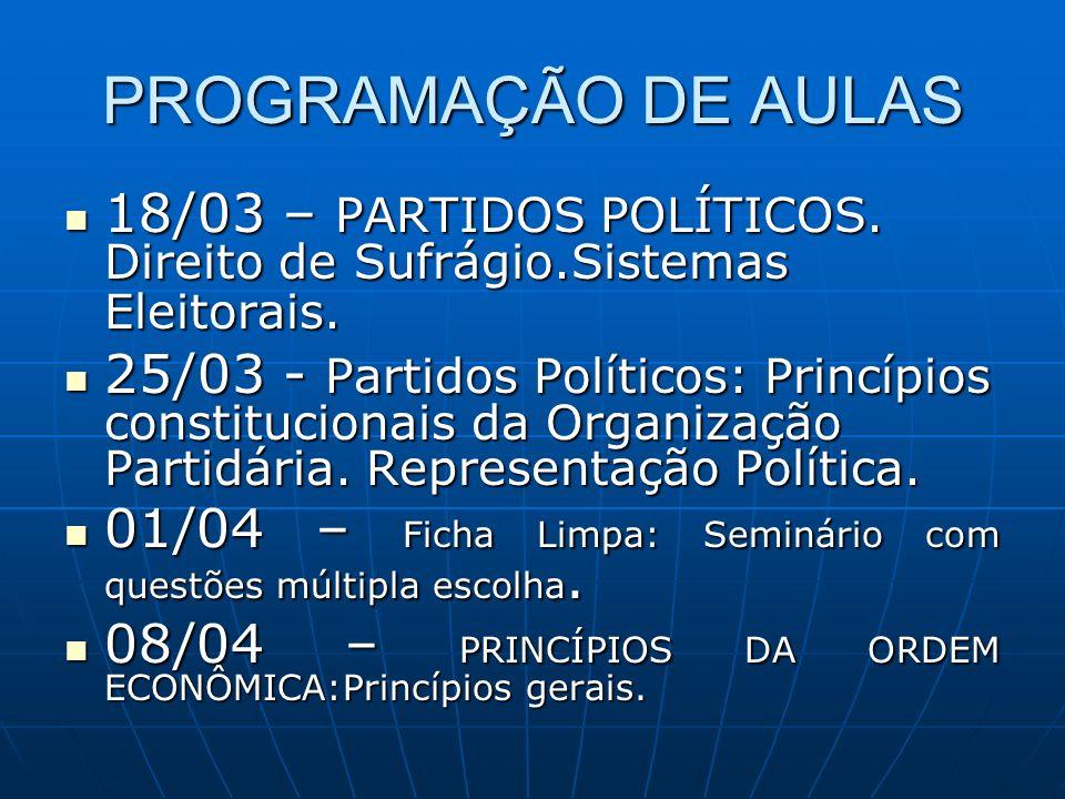 PROGRAMAÇÃO DE AULAS 18/03 – PARTIDOS POLÍTICOS. Direito de Sufrágio.Sistemas Eleitorais.