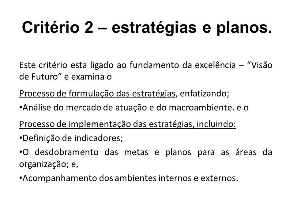 Critério 2 – estratégias e planos.