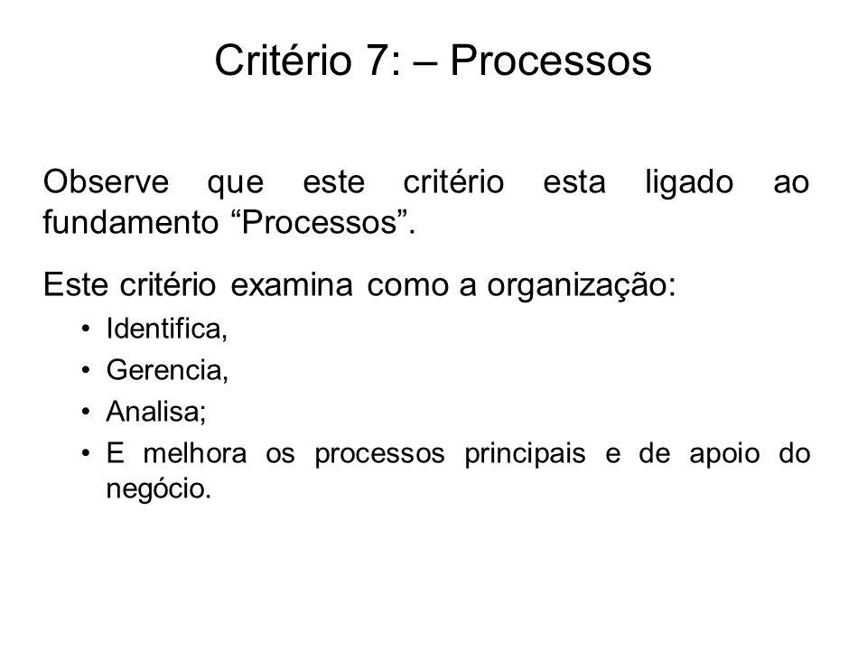Critério 7: – Processos Observe que este critério esta ligado ao fundamento Processos . Este critério examina como a organização: