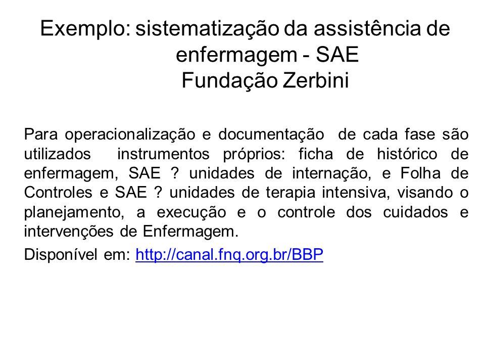 Exemplo: sistematização da assistência de enfermagem - SAE Fundação Zerbini