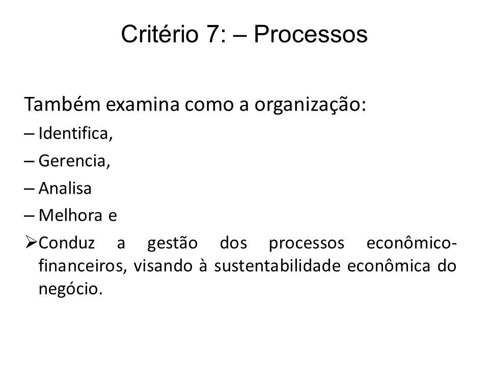 Critério 7: – Processos Também examina como a organização: Identifica,