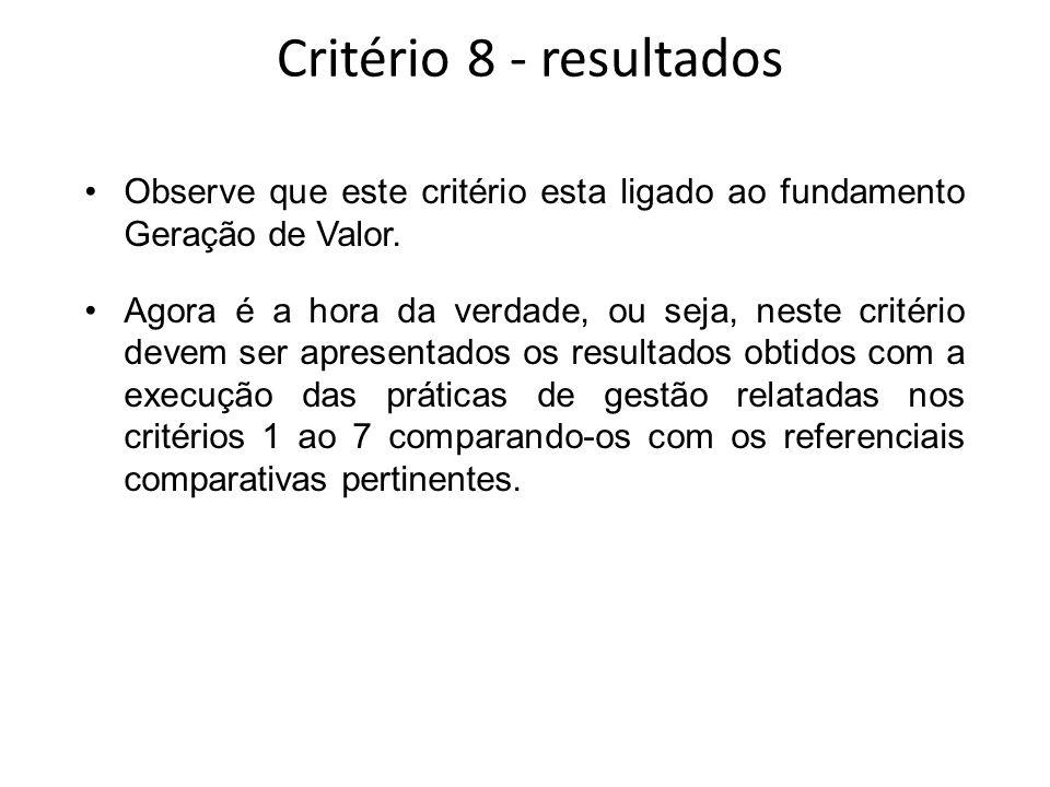 Critério 8 - resultados Observe que este critério esta ligado ao fundamento Geração de Valor.