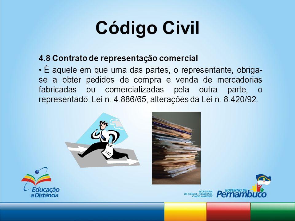 Código Civil 4.8 Contrato de representação comercial