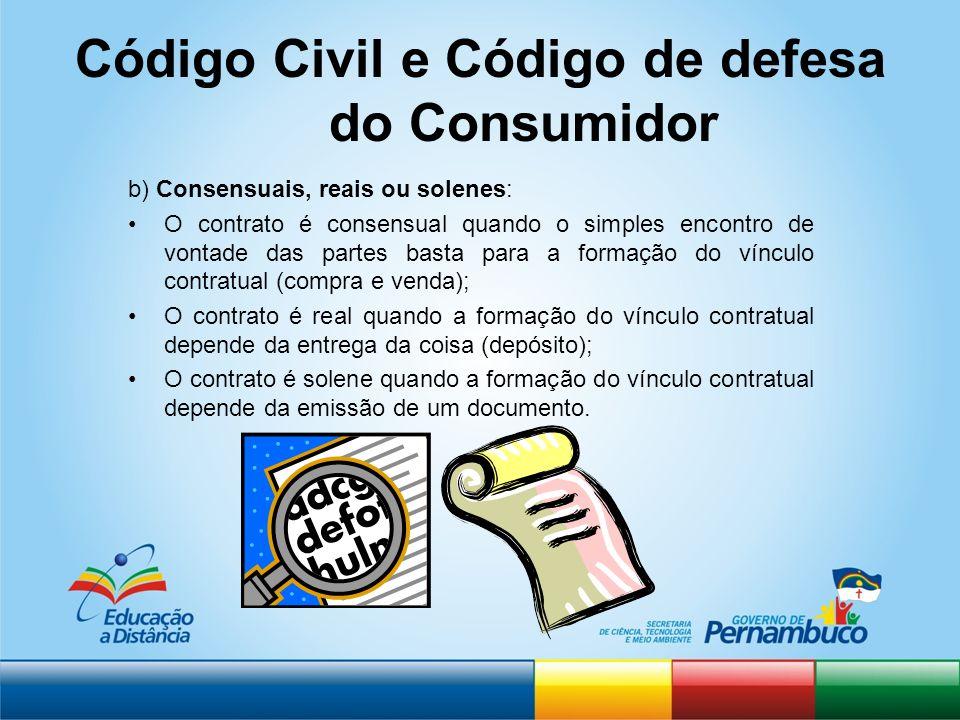 Código Civil e Código de defesa do Consumidor