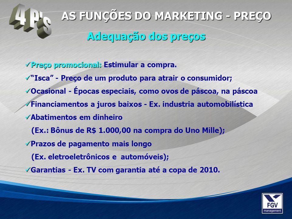4 P s AS FUNÇÕES DO MARKETING - PREÇO Adequação dos preços
