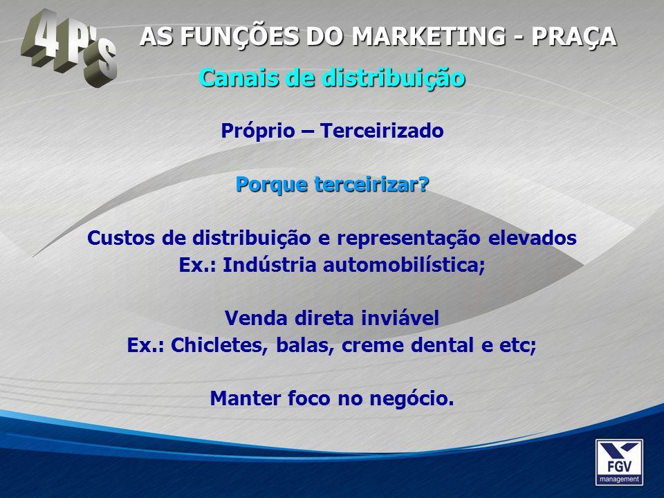 4 P s AS FUNÇÕES DO MARKETING - PRAÇA Canais de distribuição