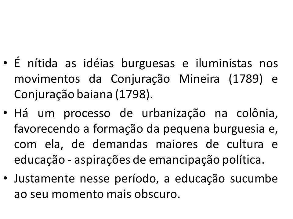 É nítida as idéias burguesas e iluministas nos movimentos da Conjuração Mineira (1789) e Conjuração baiana (1798).