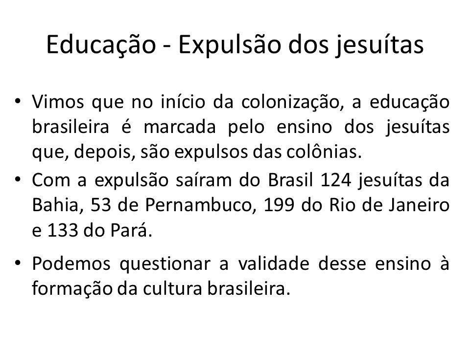 Educação - Expulsão dos jesuítas
