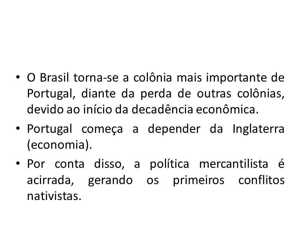 O Brasil torna-se a colônia mais importante de Portugal, diante da perda de outras colônias, devido ao início da decadência econômica.