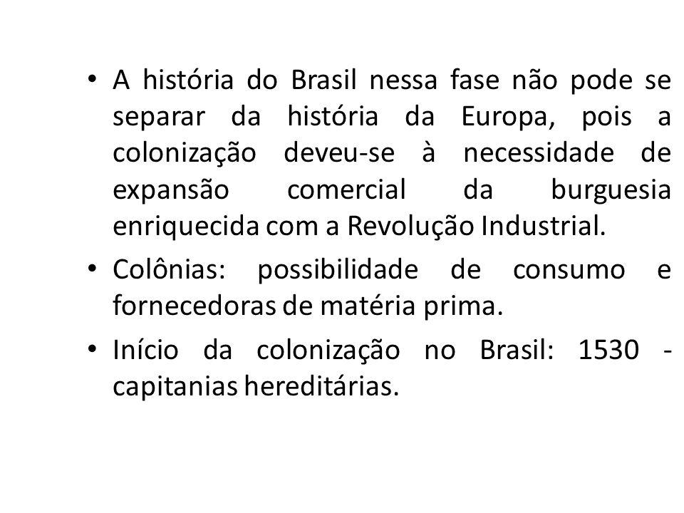 A história do Brasil nessa fase não pode se separar da história da Europa, pois a colonização deveu-se à necessidade de expansão comercial da burguesia enriquecida com a Revolução Industrial.