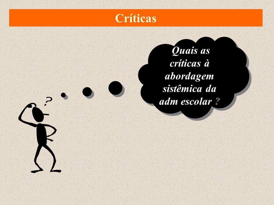 Quais as críticas à abordagem sistêmica da adm escolar