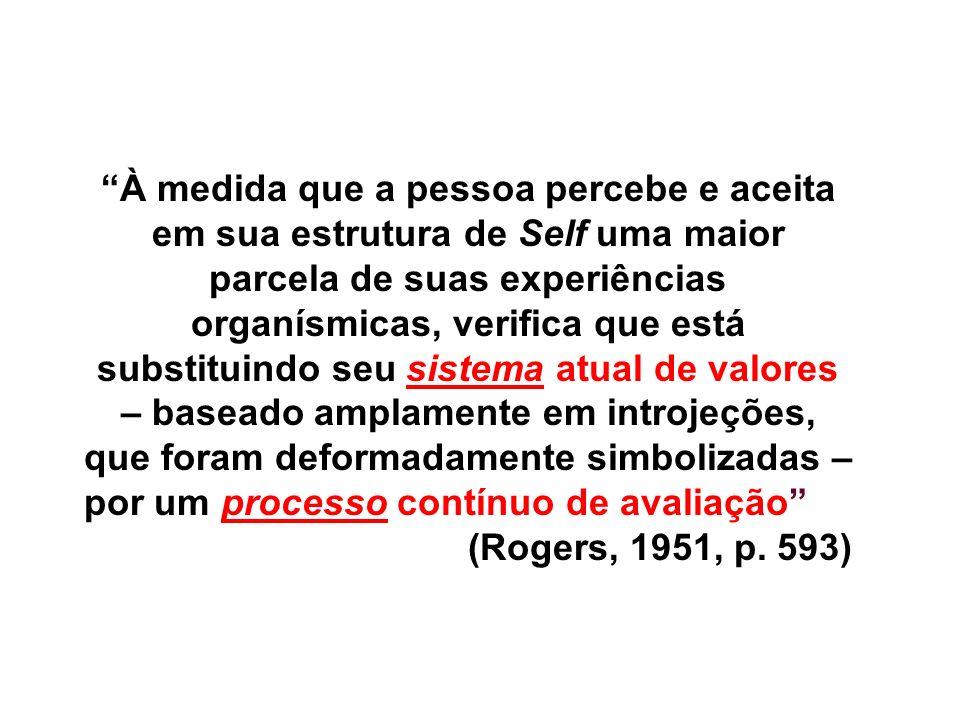 À medida que a pessoa percebe e aceita em sua estrutura de Self uma maior parcela de suas experiências organísmicas, verifica que está substituindo seu sistema atual de valores – baseado amplamente em introjeções, que foram deformadamente simbolizadas – por um processo contínuo de avaliação (Rogers, 1951, p.