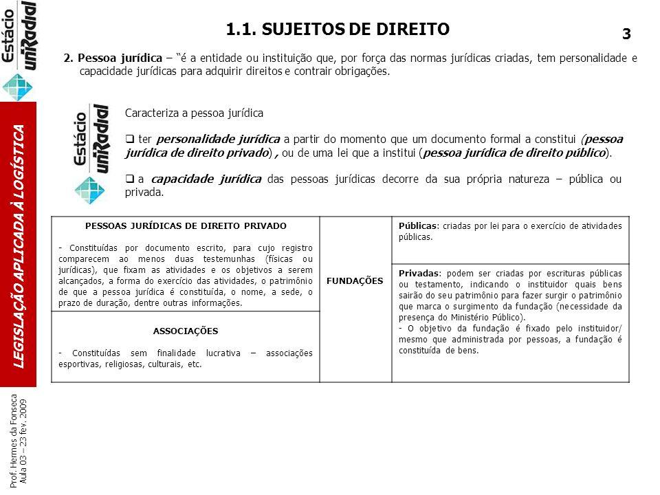 PESSOAS JURÍDICAS DE DIREITO PRIVADO LEGISLAÇÃO APLICADA À LOGÍSTICA