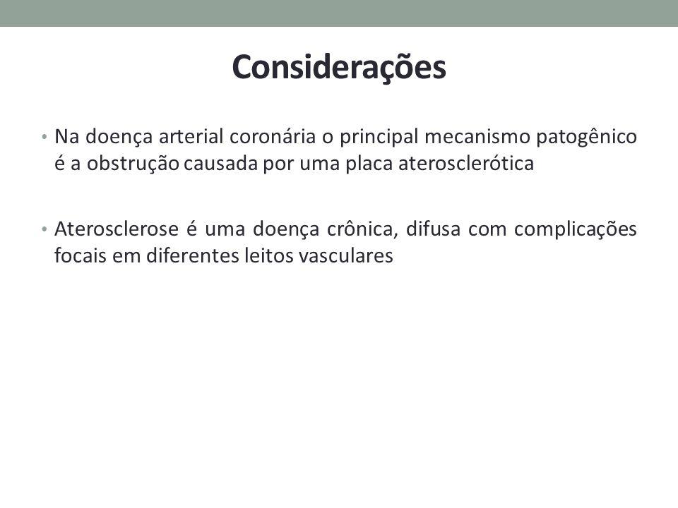 Considerações Na doença arterial coronária o principal mecanismo patogênico é a obstrução causada por uma placa aterosclerótica.