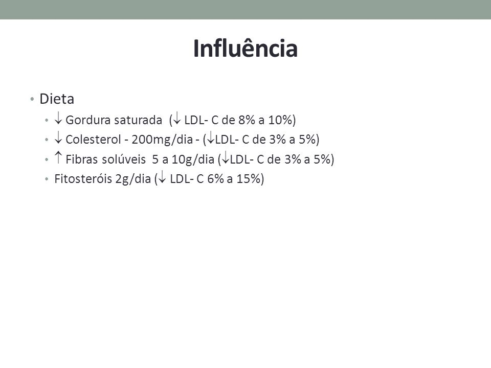 Influência Dieta  Gordura saturada ( LDL- C de 8% a 10%)