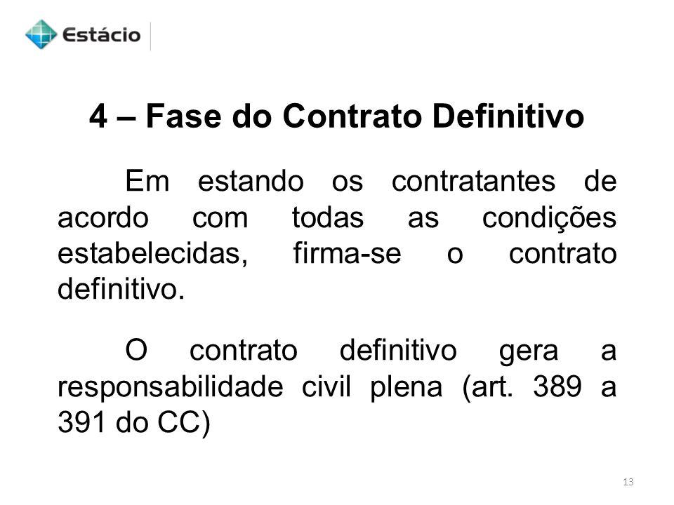 4 – Fase do Contrato Definitivo